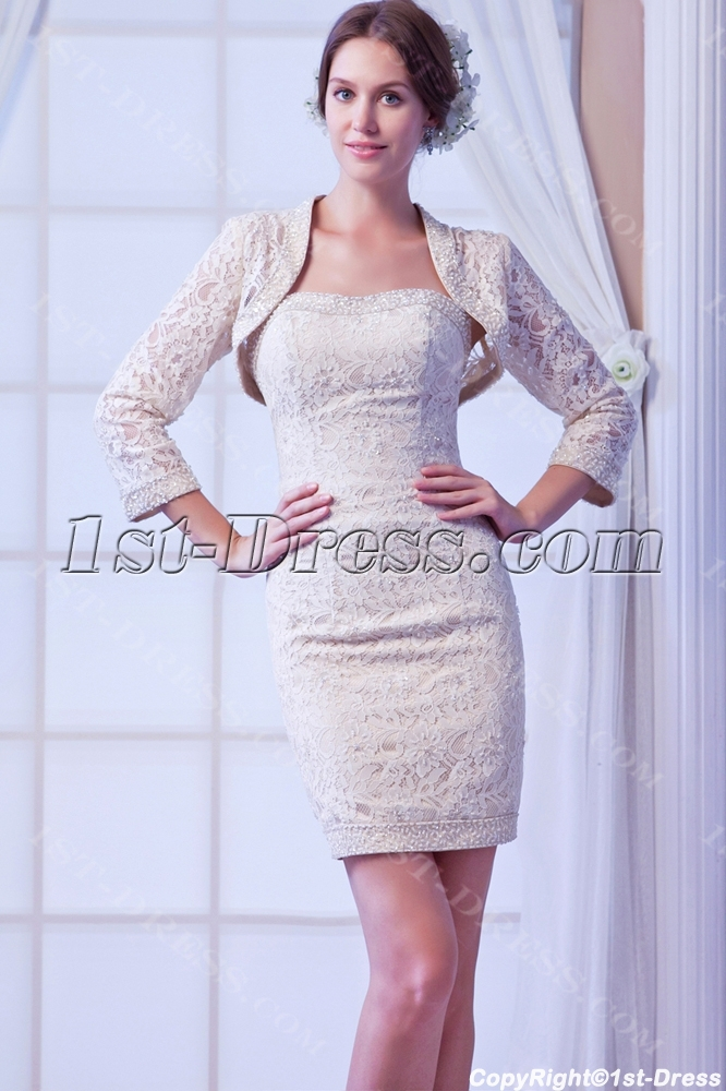 Champagne Lace Mini Bridal Gowns with Jacket:1st-dress.com