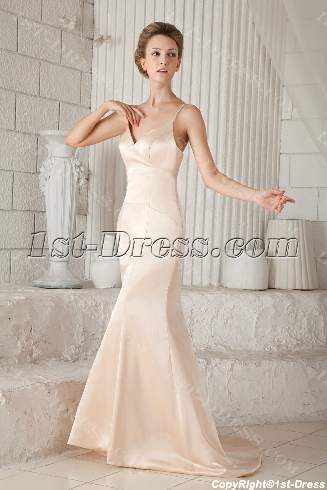 Champagne Plunge Simple Beach Bridal Gowns With Spaghetti Straps Loading Zoom Color Chart