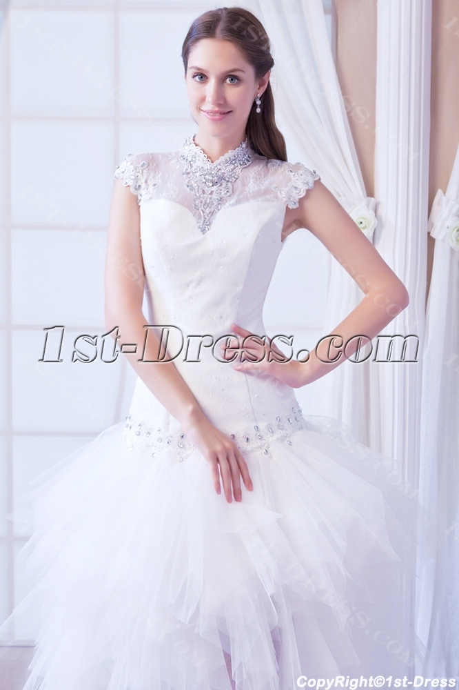 Chic Fashion High low 2014 Bridal Gowns with Cap Sleeves