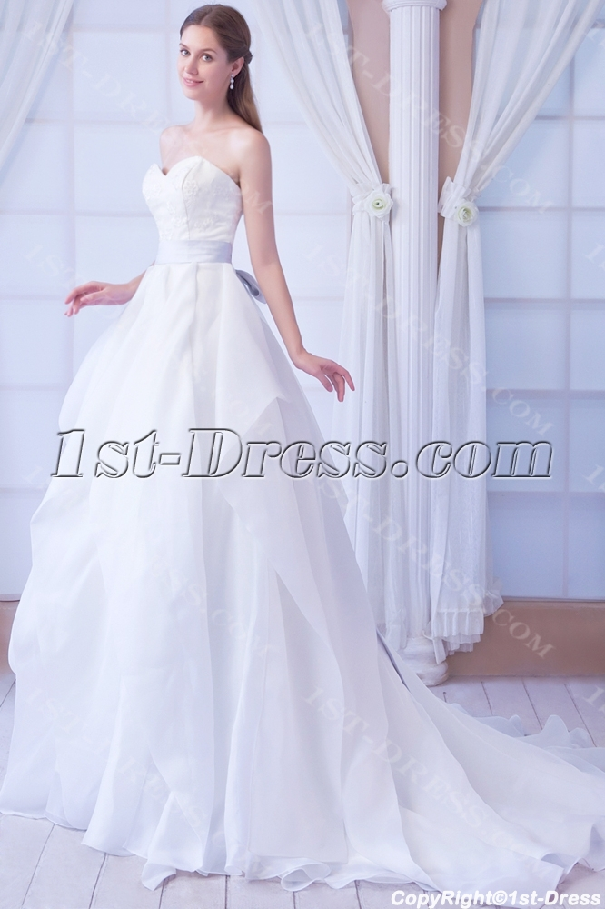 Exclusive Fall Formal 2013 Bridal Gowns with Lavender Sash:1st-dress.com