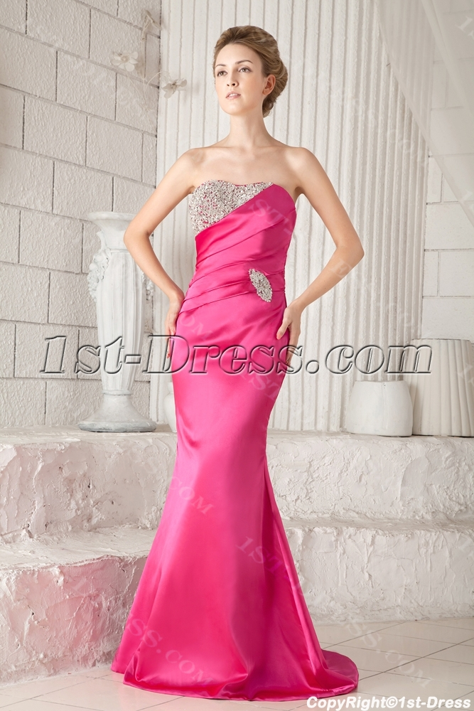 Fuchsia Formal Mermaid Evening Dress with Corset:1st-dress.com