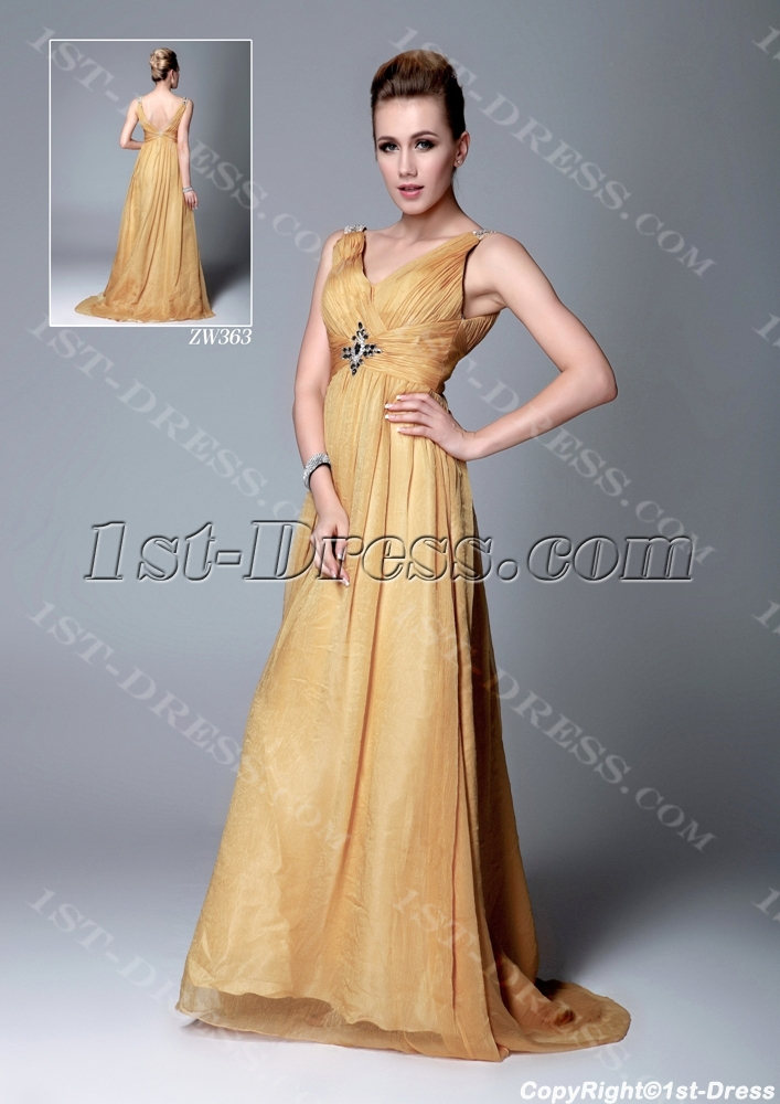 Gold Chiffon 2013 Prom Dress with V-neckline