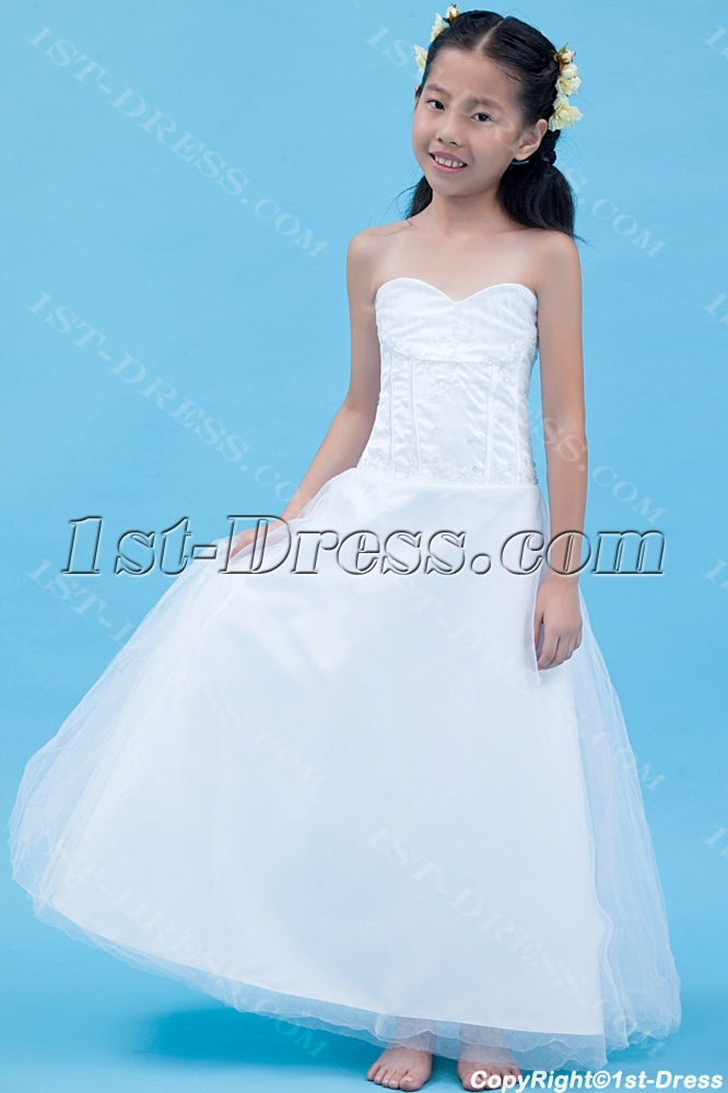 Gorgeous long mini wedding dress for kids 1st for Wedding dresses for child