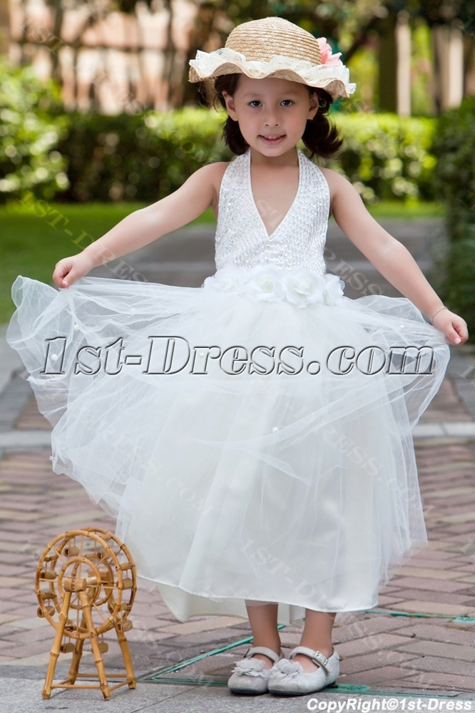 Halter Tea Length Casual Flower Girl Dresses For Beach Wedding1st