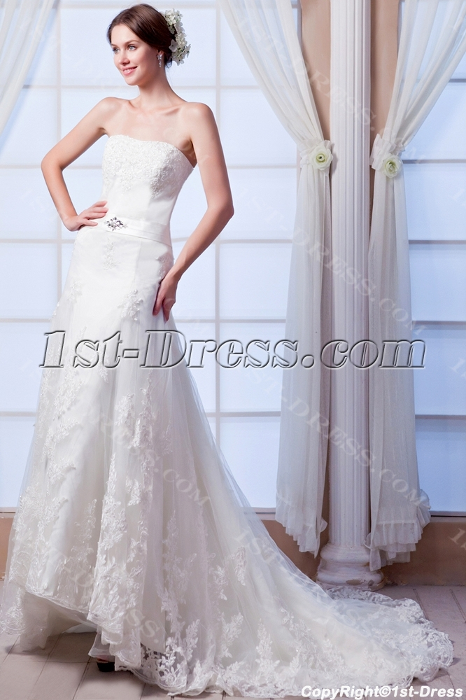 High low lace casual wedding dress with train 1st for Free wedding dresses low income