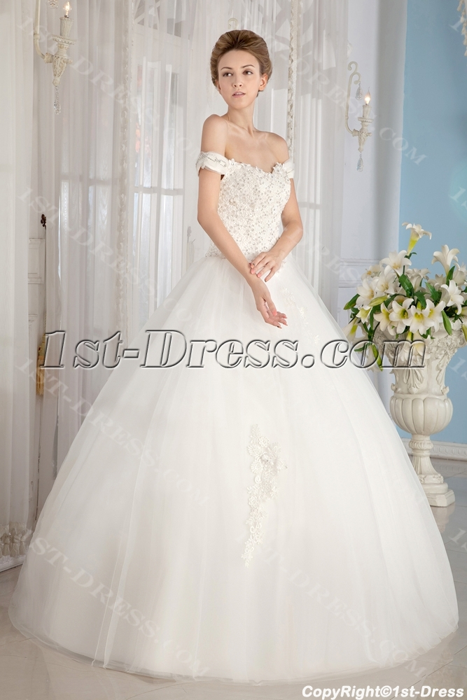 Ivory Off Shoulder Cinderella Ball Gown Wedding Dresses1st Dress
