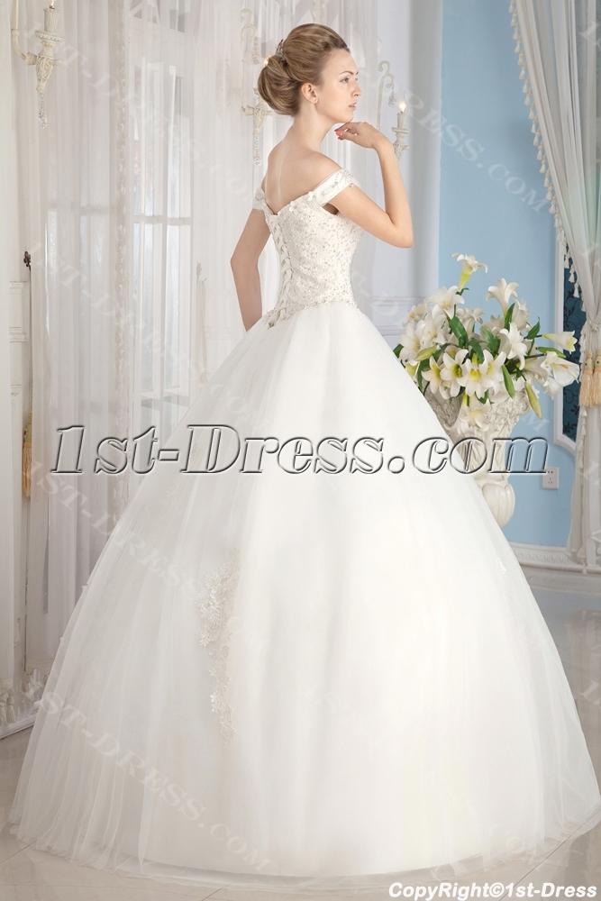 Ivory Off Shoulder Cinderella Ball Gown Wedding Dresses:1st-dress.com