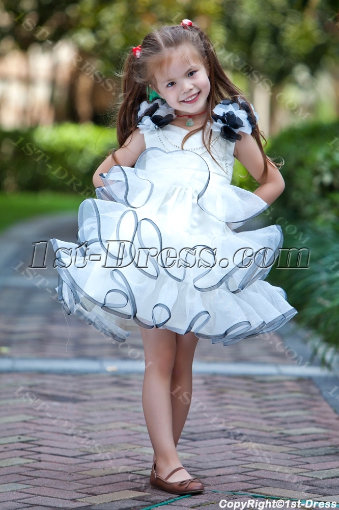 Ivory And Navy Cute Flower Dresses Loading Zoom