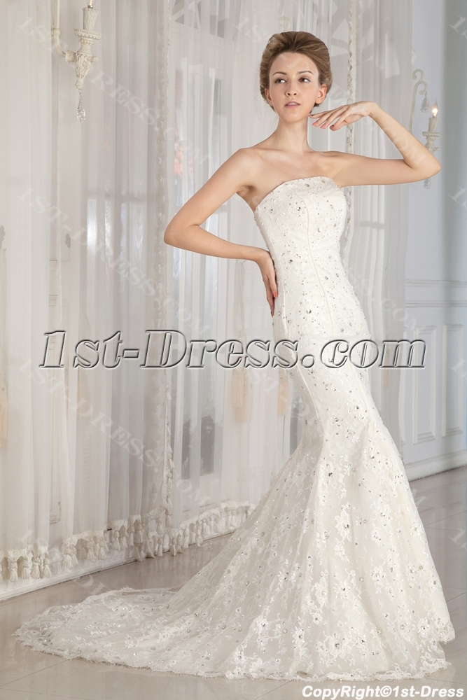 Jeweled Sheath Lace Wedding Gown Dress