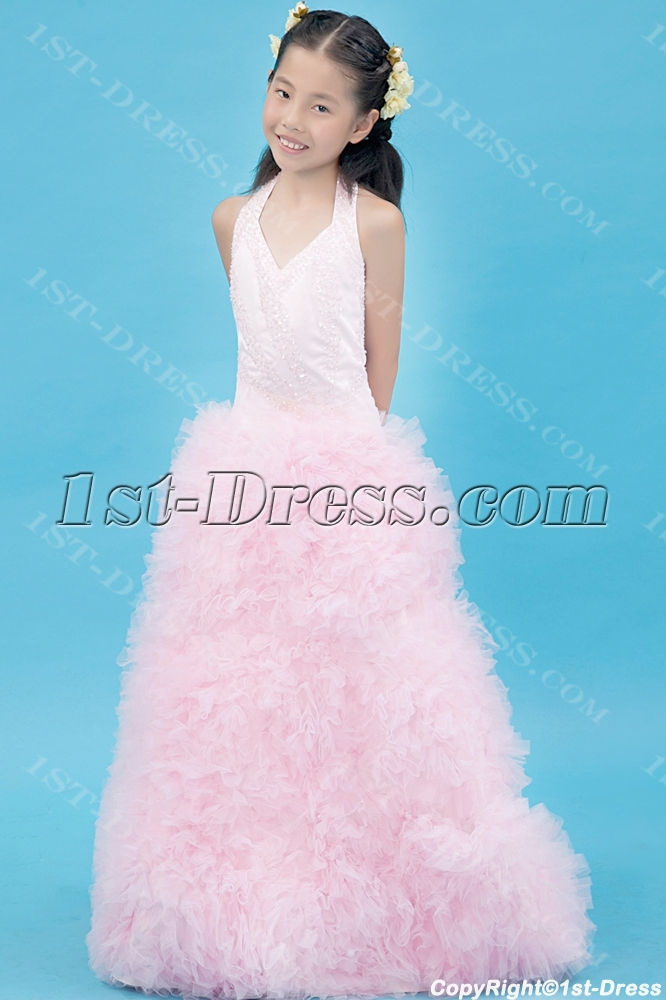 images/201308/big/Luxurious-Pink-Mini-Bridal-Gown-with-Halter-2599-b-1-1375873374.jpg