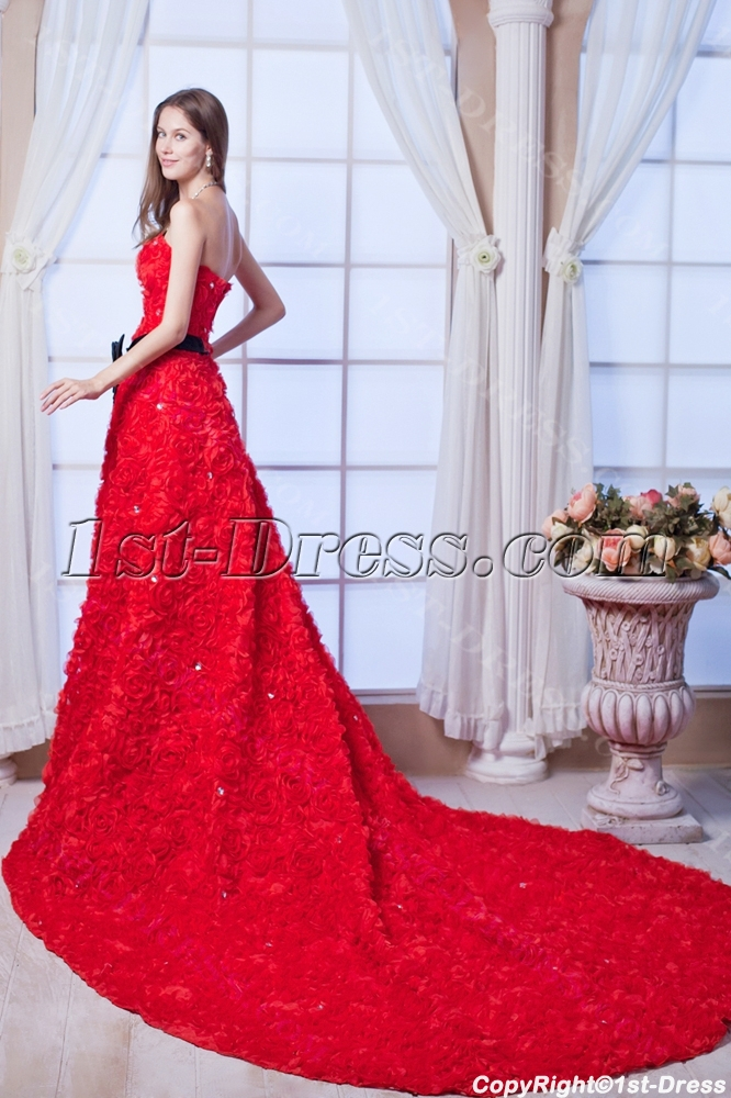Luxury Red Rose Bridal Gowns 2013 with Black:1st-dress.com