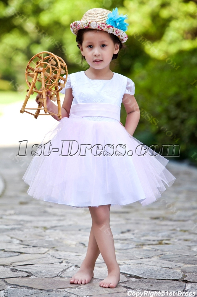 a85030b6471 Modest Cheap White and Pink Flower Girl Dress (Free Shipping)