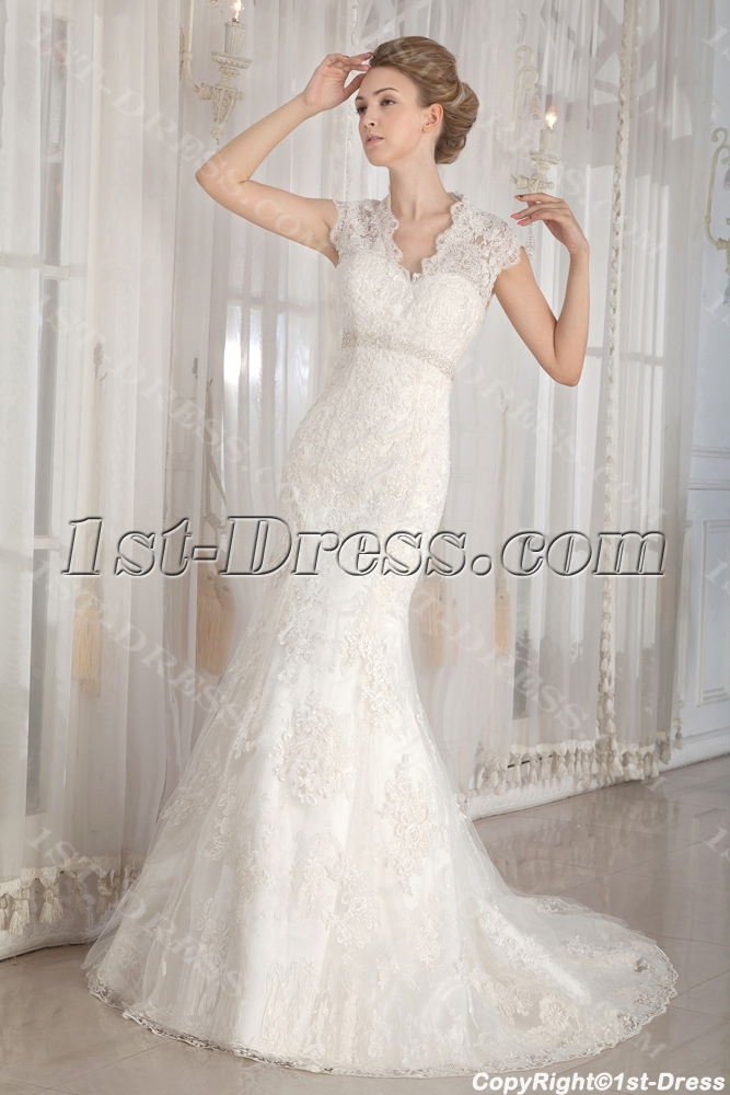 Modest Lace Illusion Back Wedding Dresses with Cap Sleeves:1st-dress.com