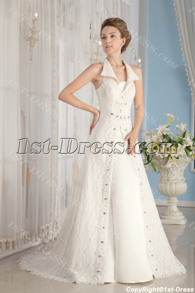 Modest Lace Mature Bridal Gowns with Keyhole