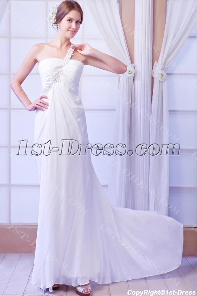 One shoulder sexy beach wedding dress with keyhole 1st for One shoulder beach wedding dress