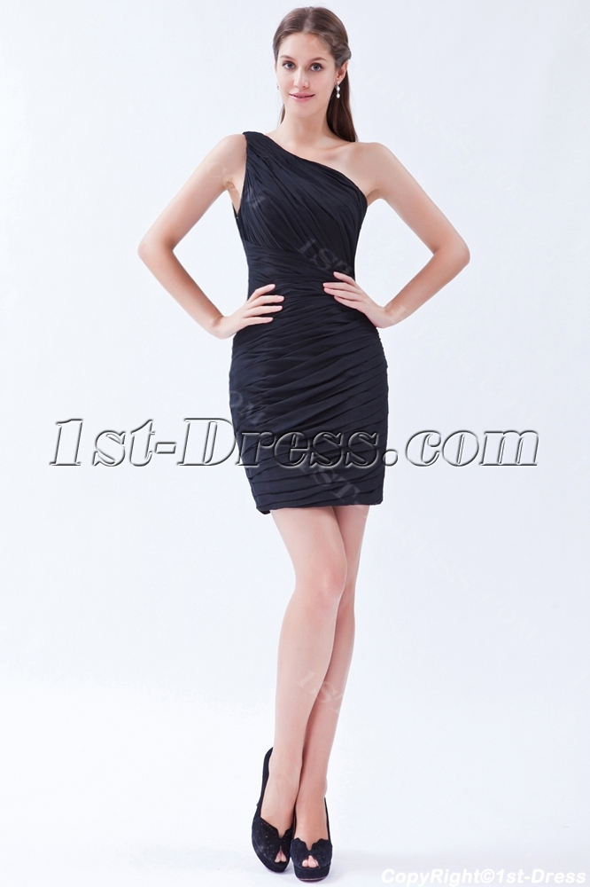 One Shoulder Simple Little Black Dresses
