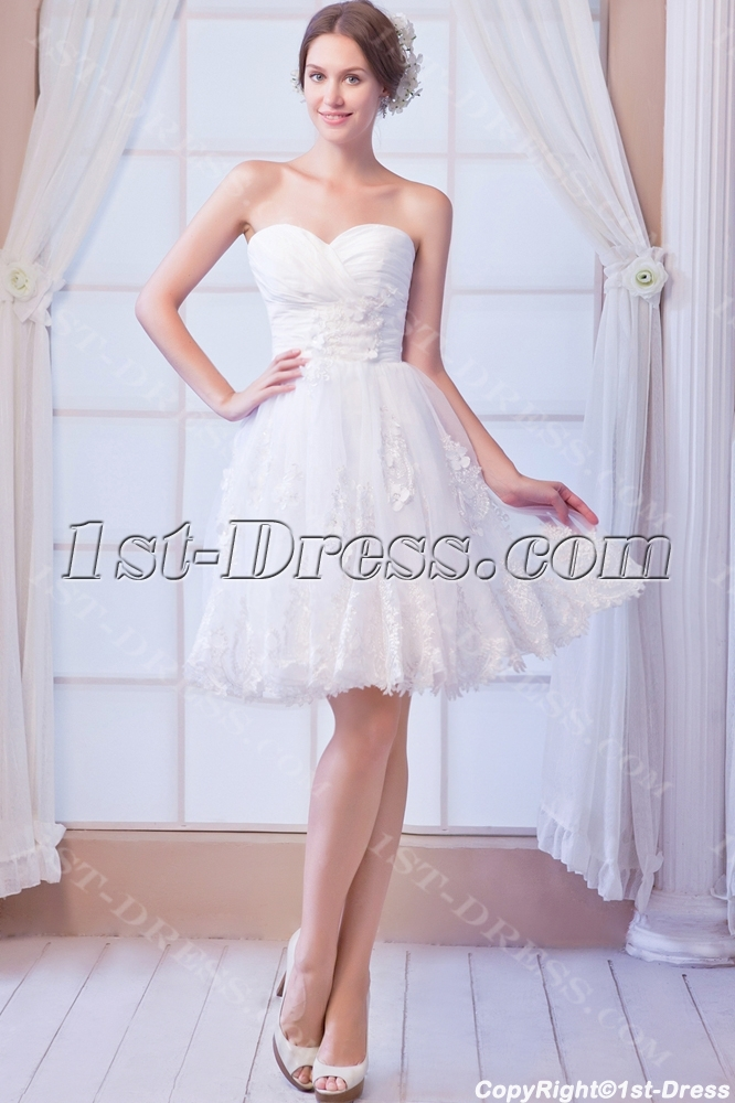 Pretty Short Lace Wedding Dresses