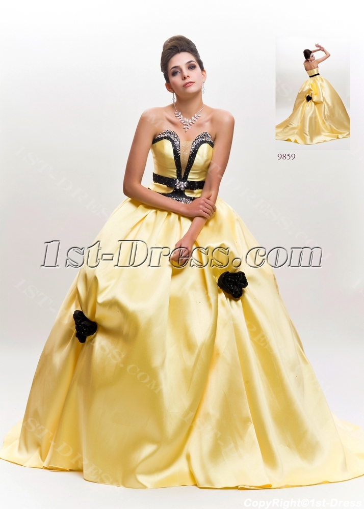 Bridal gowns princess yellow and black wedding dress with train