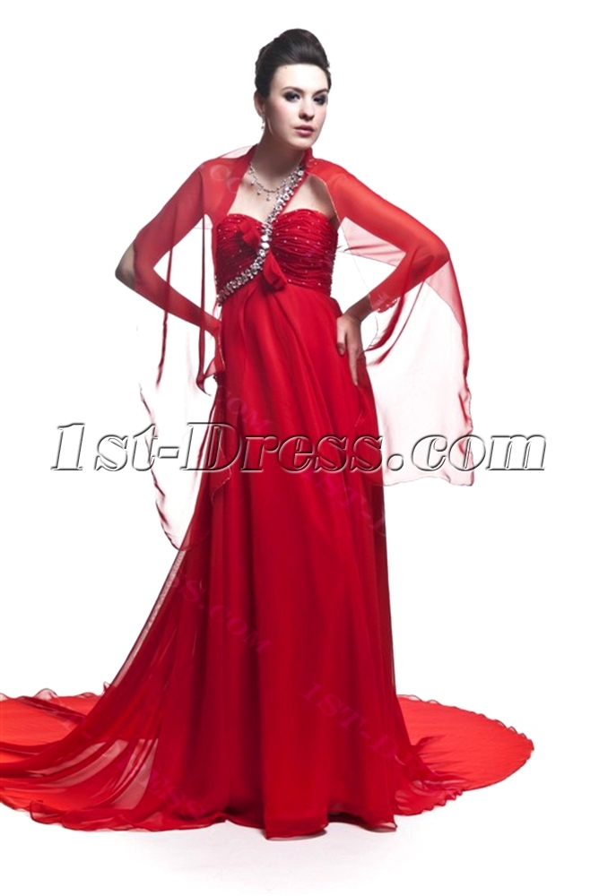 Red One Shoulder Empire Plus Size Prom Dress with Shawl:1st-dress.com