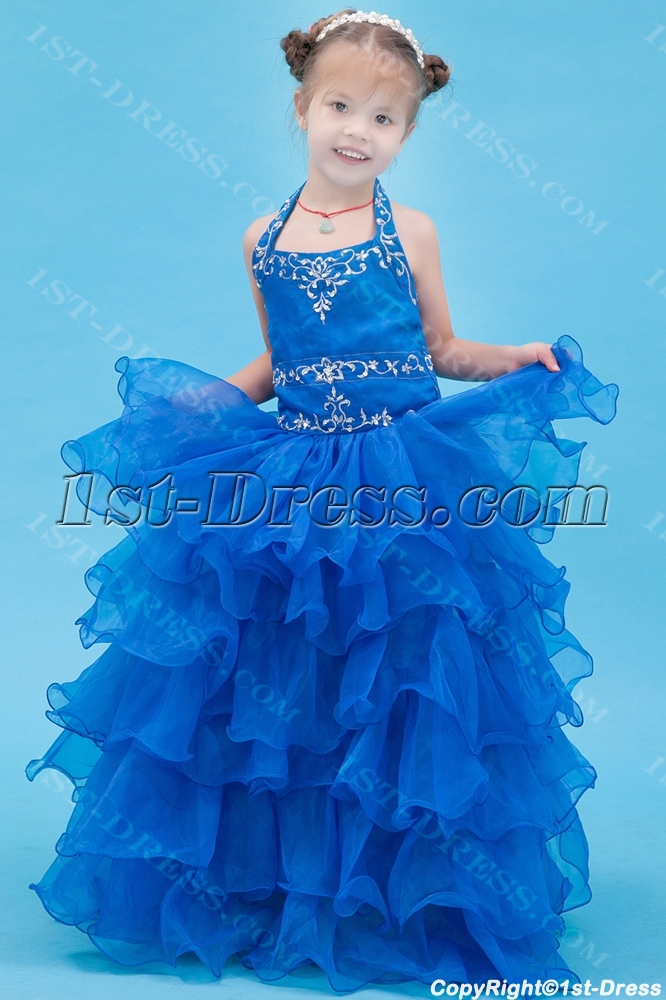 Royal Blue Halter Formal Mini Bridal Gowns for Girls:1st-dress.com