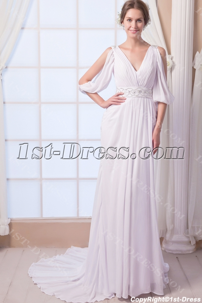 Sexy Chiffon Bohemian Beach Wedding Dress With Sleeves1st Dress