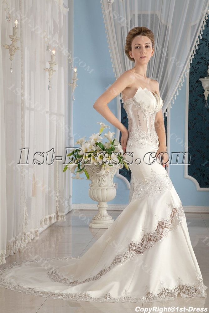 Sexy Illusion Body Summer Beach Wedding Gown