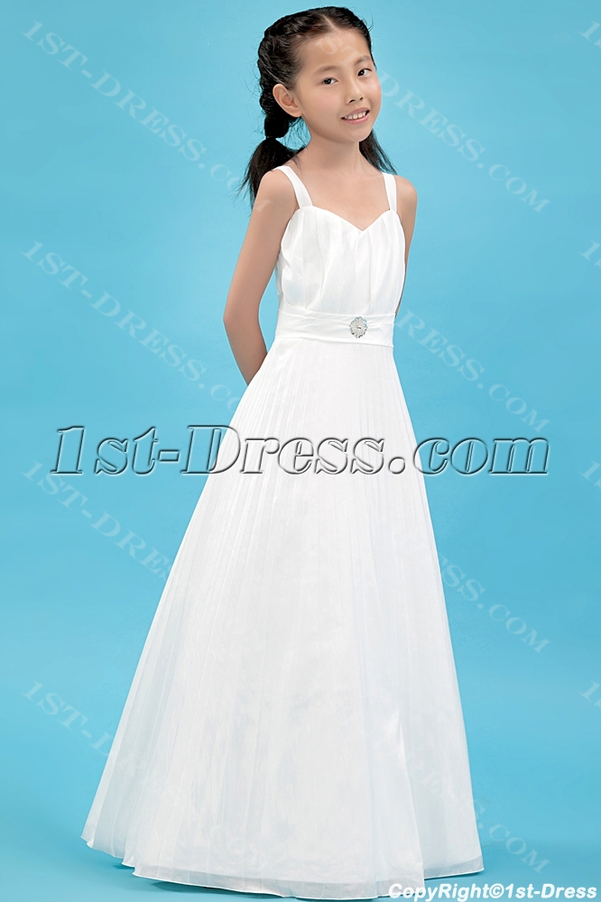 1c90ff1a890 Straps Pleats Kids Formal Mini Bridal Gown for Flower Girl 1st-dress.com