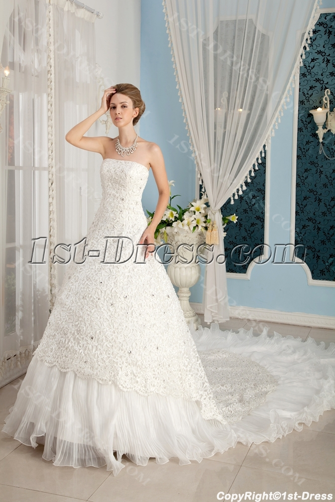 Unique 2014 Bridal Gowns with Cathedral Train