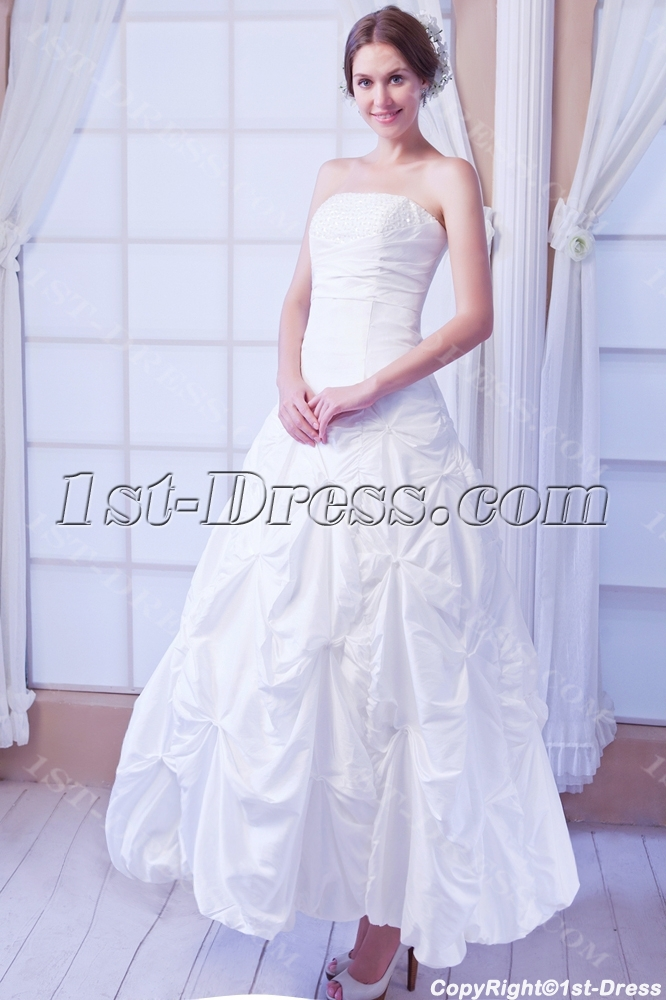 White Strapless Short Ball Gown Wedding Dress:1st-dress.com