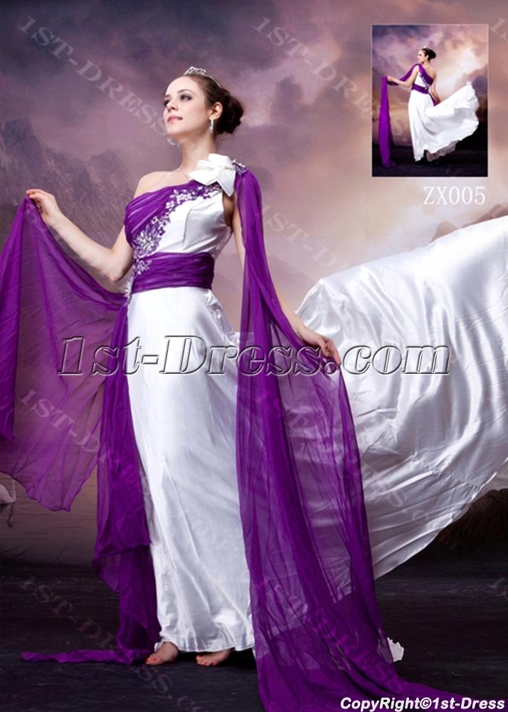White and Purple Unique One Shoulder 2013 Evening Dress:1st-dress.com