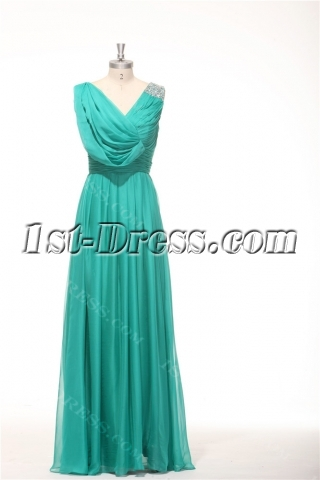 2014 Teal Green Classy Prom Dresses Long