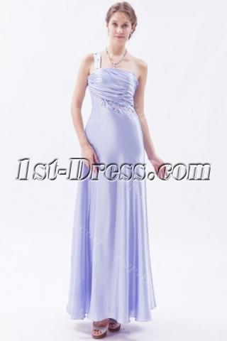 Ankle Length Lavender One Shoulder Prom Dresses under 200