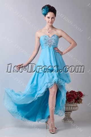 Aqua Chiffon Sweetheart Empire Party Dress with High-Low Hem