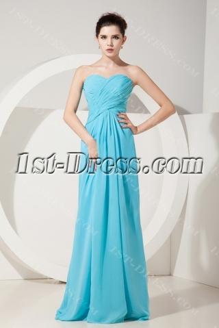 Aqua Empire Sweetheart Floor-Length Chiffon Plus Size Bridesmaid Dress