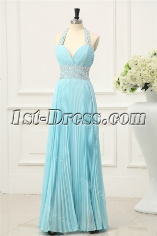 Aqua Pleats Elegant Halter Prom Dresses 2014