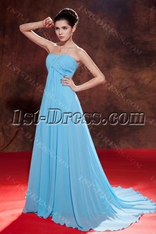 Aqua Red Carpet Long Chiffon Empire Celebrity Dress