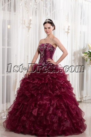 Beaded Burgundy Puffy Quinceanera Dresses 2014