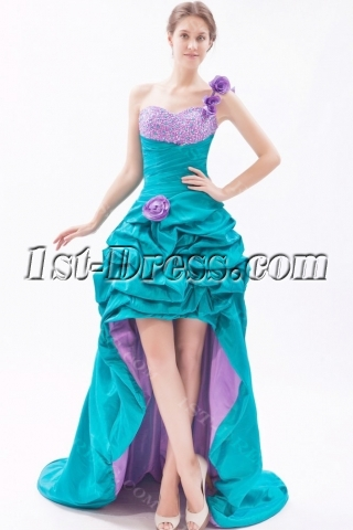 Beaded One Shoulder Colorful Sweet 16 Gown with High-Low Hem