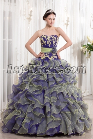 Beautiful Colorful Ruffle Quince Dress 2014 Spring