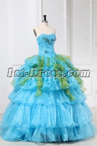 Beautiful Ruffled Organza Aqua Quinceanera Dresses