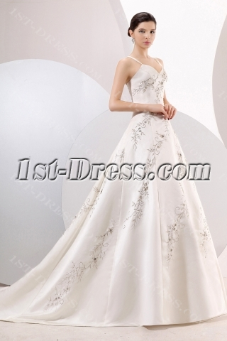 Beautiful Spaghetti Straps Ivory Embroidery Wedding Dresses Online