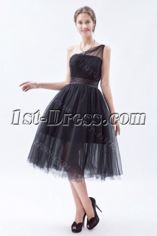 Black One Shoulder Tulle Short Wedding Dresses