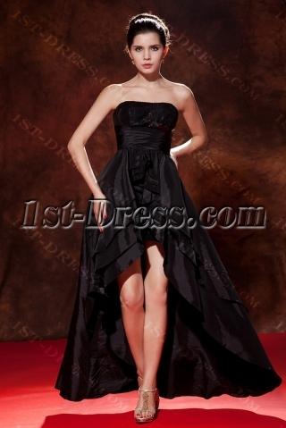 Black Taffeta Sweet 16 Dress with High-low Hem