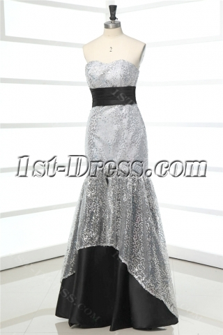 Black and Silver Mermaid 2012 Ball Gown Dress