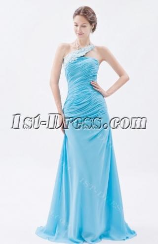 Blue Wonderful Sheath Long One Shoulder Prom Dress