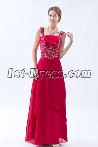 Burgundy Chiffon Long Mother of the Bride Plus Size Dresses