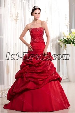 Burgundy Long Sheath Pretty Quinceanera Gown
