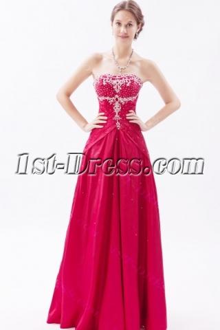 Burgundy Long Taffeta Beaded 2013 Ball Gown Dresses