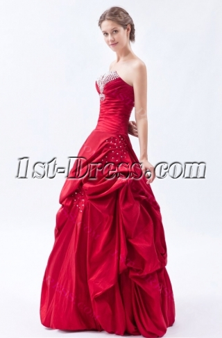 Burgundy Pick up Taffeta Long Cheap Quinceanera Dresses