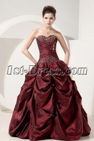Burgundy Simple Quinceanera Dresses Discount
